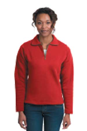 Ladies 1/4 Zip Sweatshirt - Red