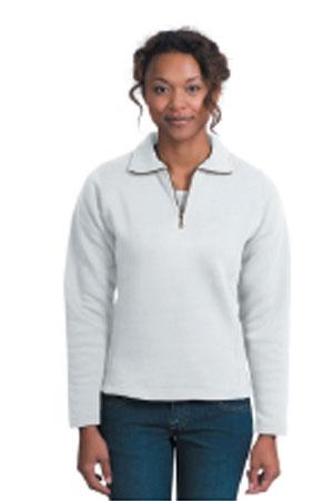 Ladies 1/4 Zip Sweatshirt - White