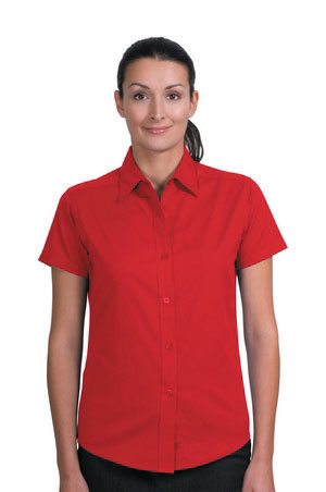 Ladies Short Sleeve Easy Care Shirt - Red
