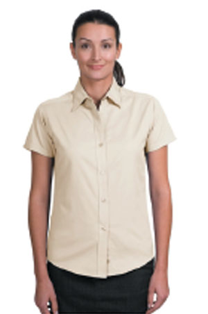 Ladies Short Sleeve Easy Care Shirt - Stone