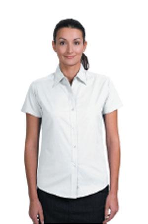 Ladies Short Sleeve Easy Care Shirt - White
