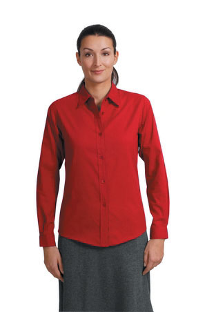 Ladies Long Sleeve Easy Care Shirt - Red