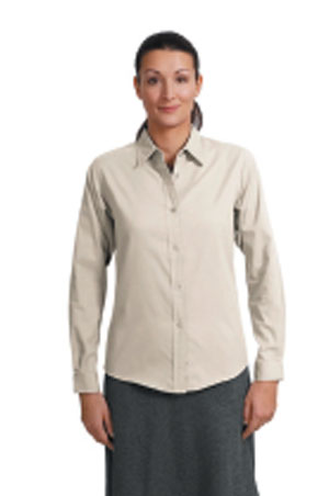 Ladies Long Sleeve Easy Care Shirt - Stone